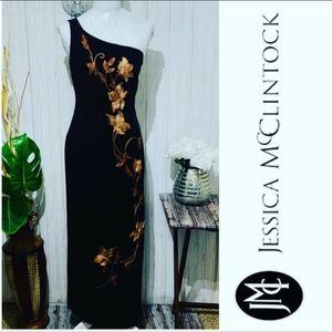 Jessica McClintock One shoulder embroidered Dress